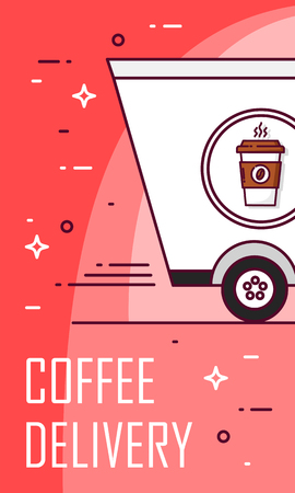 Coffee delivery card with truck. Thin line flat design. Vector poster. Banco de Imagens - 116414424
