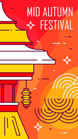 Happy Mid-Autumn Festival card with temple on red background. Thin line flat design. Vector banner.