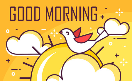 Good morning card with bird, clouds and sun. Thin line flat design. Vector good morning banner.