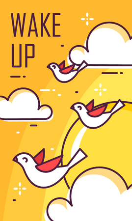 Wake up poster with birds, clouds and sun. Thin line flat design. Vector good morning banner.