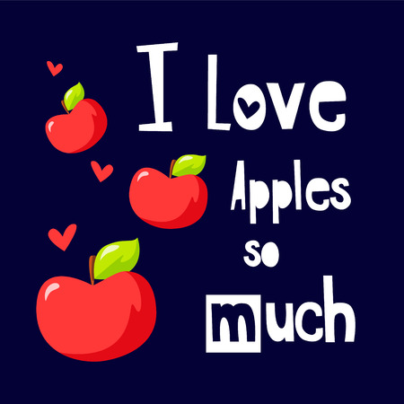 Fruit poster with red apples, hearts and text field on black background. Vector.