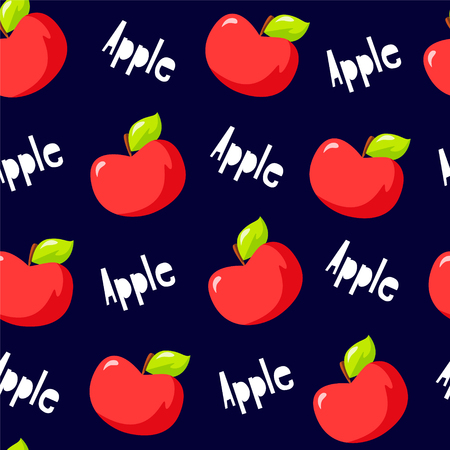 Fruit pattern with red apples and text on black background. Vector. Illustration