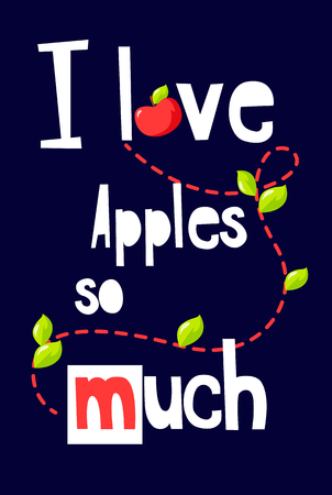 Fruit poster with text, leaves and red apple on black background. Vector banner.