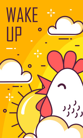 Wake up card with rooster, clouds and sun. Thin line flat design. Vector good morning banner. Illustration