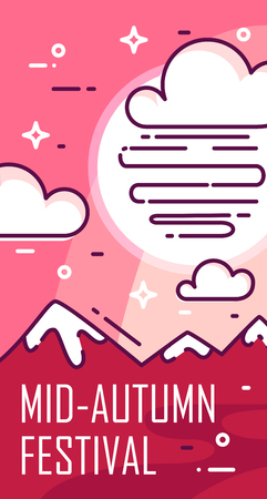 Mid-Autumn Festival card with clouds and mountains on pink background. Thin line flat design. Vector banner.