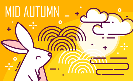 Mid-Autumn Festival poster with moon, rabbit and graphic elements on orange background. Thin line flat design. Vector banner.