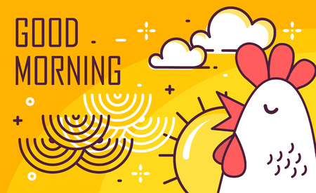 Good Morning poster with rooster, sun and waves on yellow background. Thin line flat design. Vector.