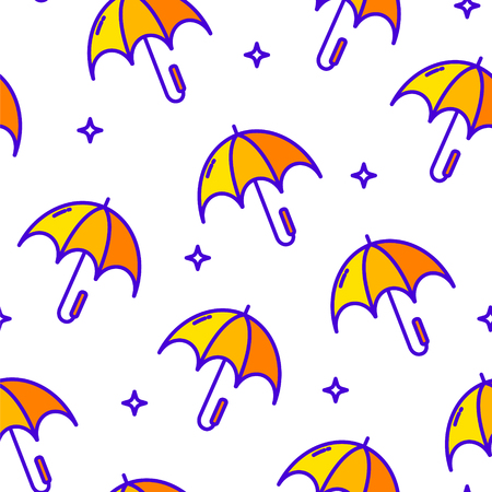 Seamless pattern with umbrella and stars on white background. Vector banner. Illustration