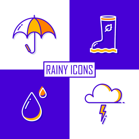 Set of icons for rainy season: umbrella, cloud, drop and rubber boot. Thin line flat design. Vector.