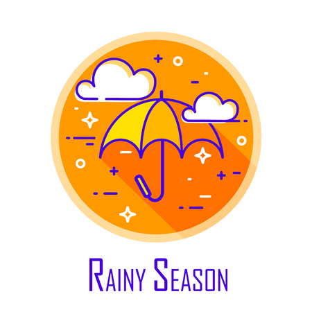 Rainy season icon with umbrella and clouds in orange circle. Thin line flat design. Vector. Illustration