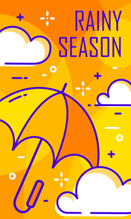 Rainy season card with umbrella and clouds. Thin line flat design. Vector banner.