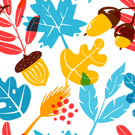 Autumn pattern with color leaves, acorns and graphic elements on white background. Ornament for textile and wrapping. Vector.