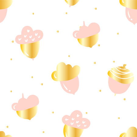 Autumn pattern with cute pink acorns and golden points on white background. Ornament for textile and wrapping. Vector.