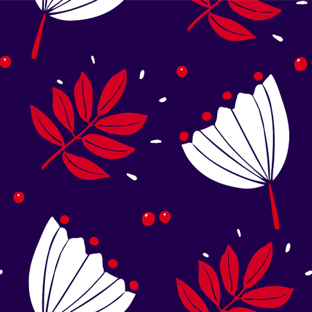 Cute pattern with rowan leaves, berries and white flowers on dark background. Ornament for textile and wrapping. Vector.