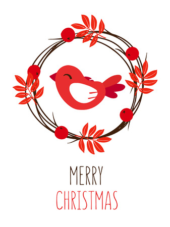 Merry Christmas card with leaves, red bird and wreath of branches on white background. Vector.