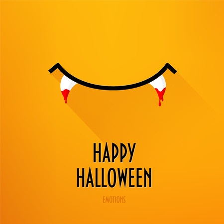 Halloween card with smile and fangs in blood on orange background. Flat design. Vector. Illustration