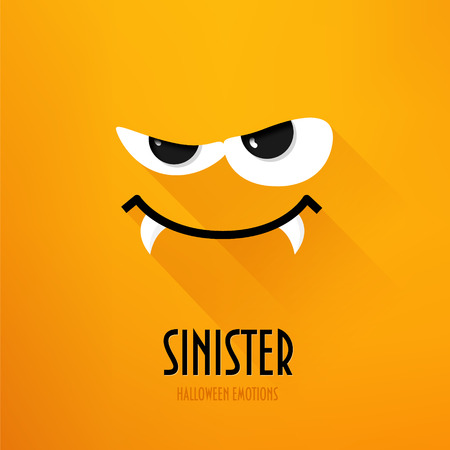 Happy Halloween greeting card with sinister emotion on orange background. Flat design. Vector. Ilustração