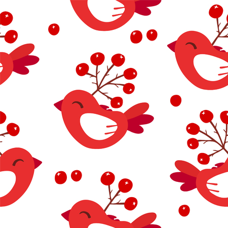 Cute winter pattern with red birds and berries on white background. Ornament for textile and wrapping. Vector.