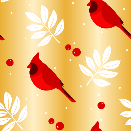 Merry Christmas pattern with leaves, red cardinal and berries on golden background. Vector.