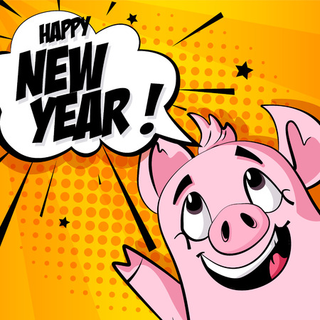 Holiday card with cartoon pig and text cloud on orange background. Vector banner in comics style.