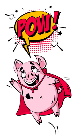 Cartoon pig and text cloud on white background. Greeting card in comics style. Vector. Illustration