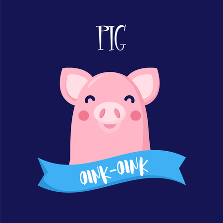 Illustration with cartoon pig and ribbon. Flat design. Vector card.