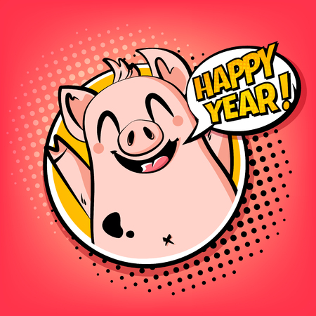 Happy Year card with pig in frame and text cloud. Greeting poster in comics style. Vector.