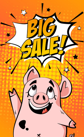 Sale banner with cartoon pig and text cloud on orange background. Holiday card in comics style. Vector.
