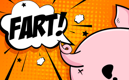 Comics card with cartoon pig butt, stars and text cloud on orange background. Vector banner.