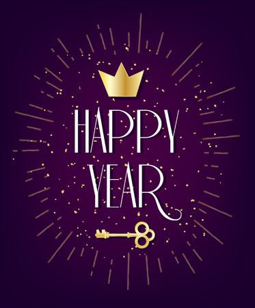 Happy Year card with crown, key and golden confetti on violet background. Vector greeting banner.