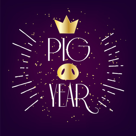Happy New Year card with crown, pig nose and golden confetti on violet background. Vector greeting banner.