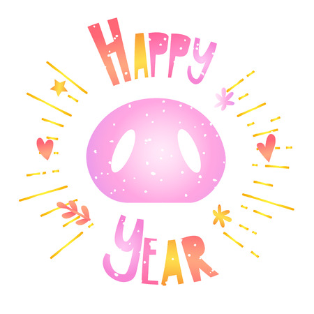 Happy New Year card with pig nose, text and graphic elements: heart, flower, star, twig. Vector cartoon background.