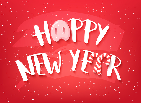 Happy New Year card with text, pig nose and candy canes on red background. Vector banner.