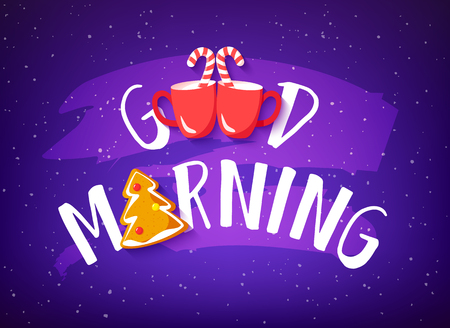 Holiday banner with text Good Morning, gingerbread, candy canes and two red cups on purple background. Cute illustration for bakery.