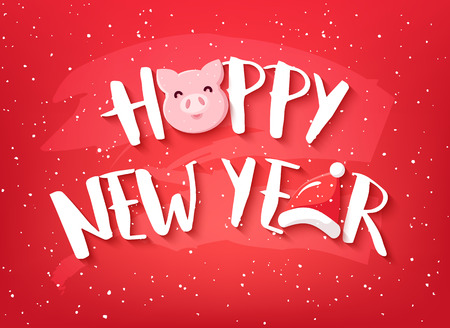 Happy New Year card with text, pig and Santa hat on red background. Vector banner. Ilustração