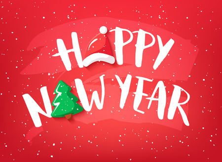 Holiday card with text Happy New Year, christmas tree and Santa hat on red background. Vector banner.