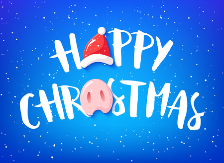 Happy Christmas card with text, pig nose and Santa hat on blue background. Vector banner.