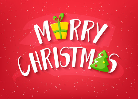 Merry Christmas card with text, christmas tree and gift on red background. Vector banner. Ilustração