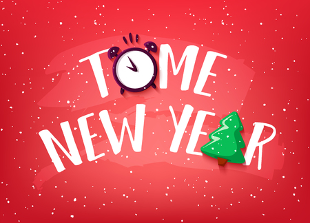 New Year card with christmas tree, snow and alarm clock on red background. Vector banner.