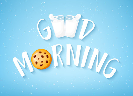 Good Morning card with text, cookie and two glasses of milk on blue background. Vector banner. Ilustração