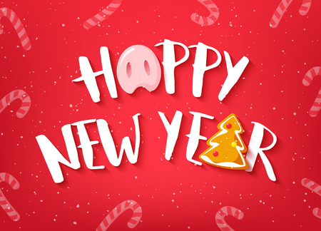 Happy New Year card with text, pig nose and gingerbread on red background. Vector banner.