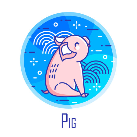 Holiday icon with pig and graphic elements in blue circle. Thin line flat design. Vector.
