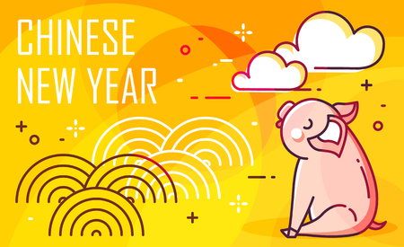 New Year card with pig and clouds on yellow background. Thin line flat design. Vector.