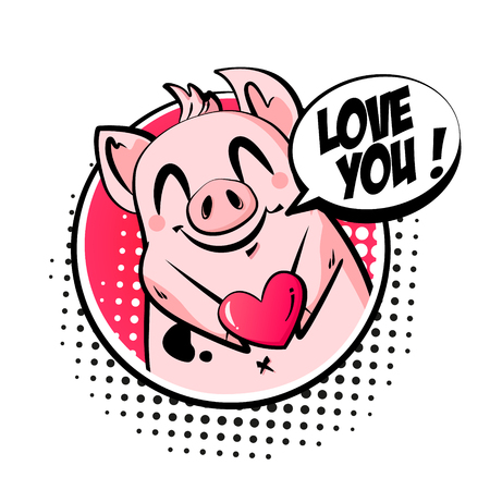 Valentines day card with cute pig, heart and text cloud. Greeting poster in comics style. Vector icon.
