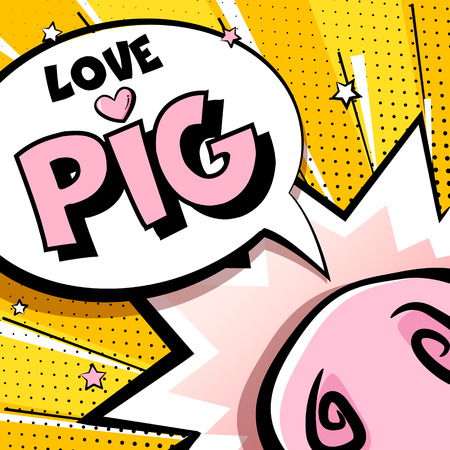 Greeting card with cartoon pig nose, stars and text cloud on yellow background. Comics style. Vector banner. Ilustração