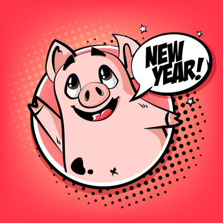 Happy Year card with cute pig in frame and text cloud. Greeting poster in comics style. Vector. Illustration