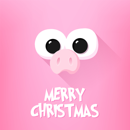 Merry Christmas card with pig nose, cartoon eyes and text on pink background. Flat design. Vector.