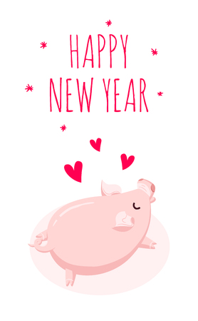 Happy New Year card with pig and hearts on white background. Flat style. Vector card. Illustration