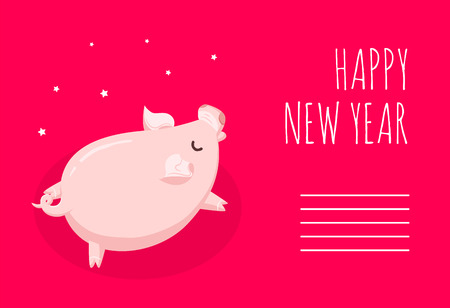 Happy New Year card with cartoon pig and stars on red background. Flat style. Vector christmas card. Illustration