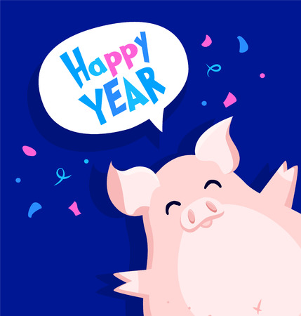 Happy New Year card with fun pig and confetti on blue background. Flat style. Vector.